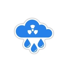 Paper sticker on white background toxic rain vector