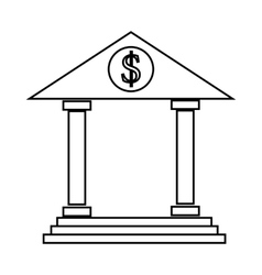 Bank icon in outline style vector