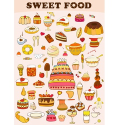 Sweets food set vector