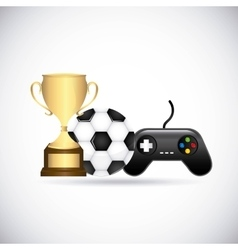 Control ball trophy icon video game design vector