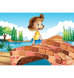 A little girl crossing the bridge vector