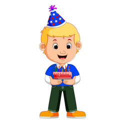 a smiling boy with cake vector image vector image