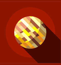 Brown planet icon flat style vector