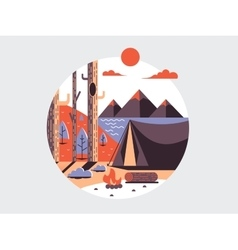Camping flat round icon vector image