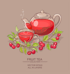 cherry tea vector image