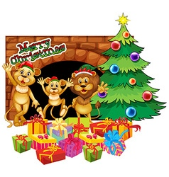 Christmas theme with three lions and presents vector
