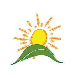 Color paint sun with mountain icon vector