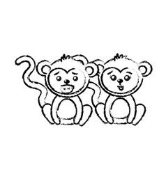 Figure cute couple monkey wild animal with vector