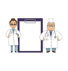 flat female male doctor in medical clothing vector image