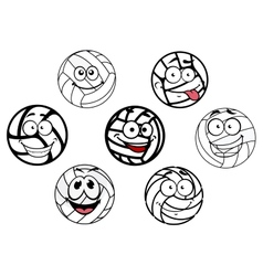 Funny cartoon white volleyball balls characters vector image vector image