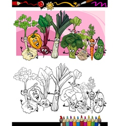 funny vegetables cartoon for coloring book vector image vector image