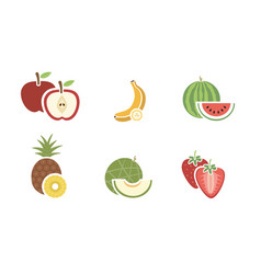 Group of fruits color icon on white background vector