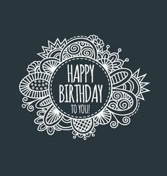 happy birthday circle hand drawn vector image vector image