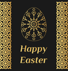 Happy easter card with lacy egg and decorative vector
