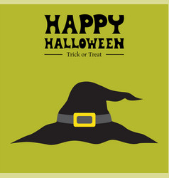 happy halloween witch hat card vector image vector image