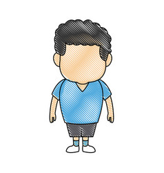 Little boy cartoon character cute kid standing vector
