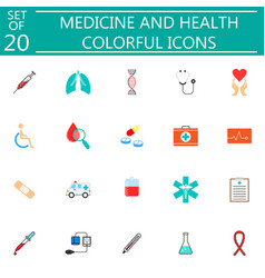 Medicine and health flat icon set medical symbols vector