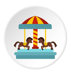 Merry go round horse ride icon circle vector