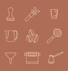 Outline coffee barista instruments icons set vector