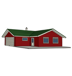 Red low house vector