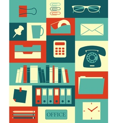 Retro office collection vector