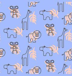 Safari zoo animals kid seamless pattern vector