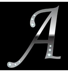 silver metallic letterA vector image