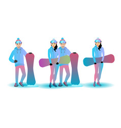 snowboard character set vector image vector image