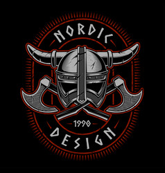 viking helmet with axes vector image vector image
