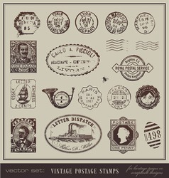 Vintage postage stamps vector