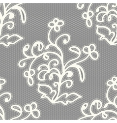 White seamless lace pattern on a gray background vector image vector image