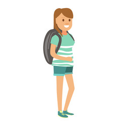 Woman in denim shorts and with big backpack vector