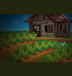 wooden hut by the vegetable garden vector image vector image