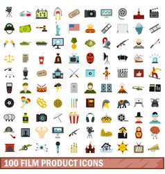 100 film product icons set flat style vector