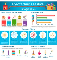 Pyrotechnics festival flat infographics vector