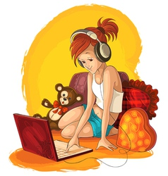 A little girl working and listening music on vector