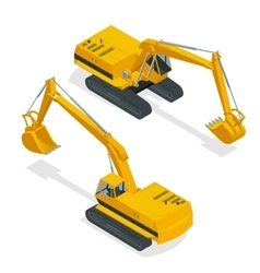 Isometric crawler excavator special machinery vector