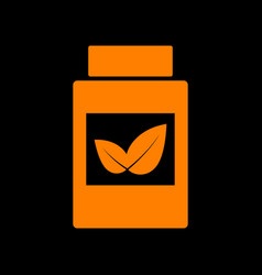 Supplements container sign orange icon on black vector