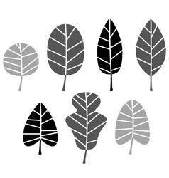 Black Leaves silhouette set isolated on white vector image