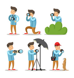 Photographer cartoon character set vector