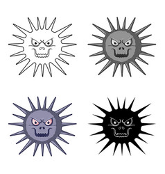 Gray virus icon in cartoon style isolated on white vector