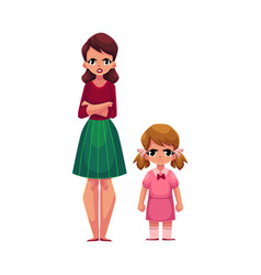 Young mother and little daughter standing with vector