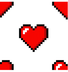 Pixel heart love seamless pattern color icon vector