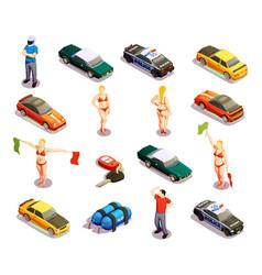 Automobile racing icon set vector