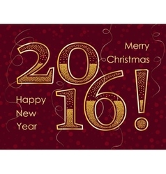 2016 happy new year gold glitter greeting card vector