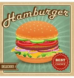 Hamburger retro poster vector image