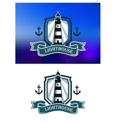 Marine banner with lighthouse and anchor vector