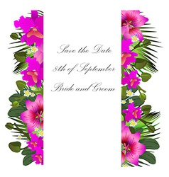 Tropical flowers and leaves floral design vector
