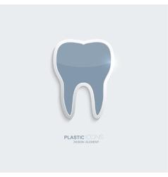 Plastic icon tooth symbol vector