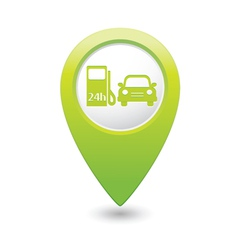 Petrol station and car green map pointer vector